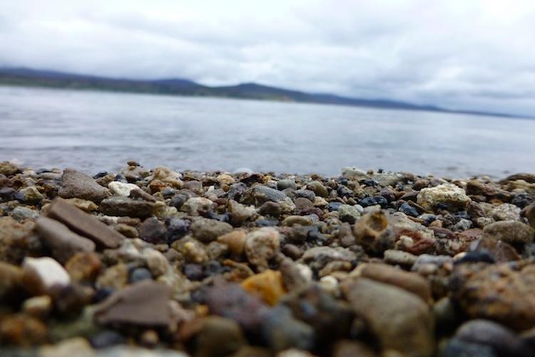 pebbles on lake beach