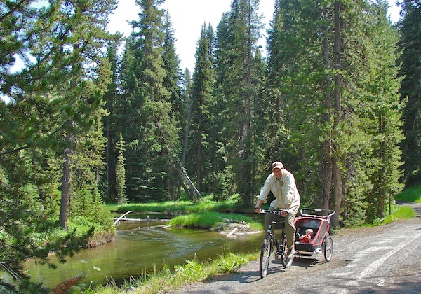 Riding along the Firehole River from Lone Star Geyser.
