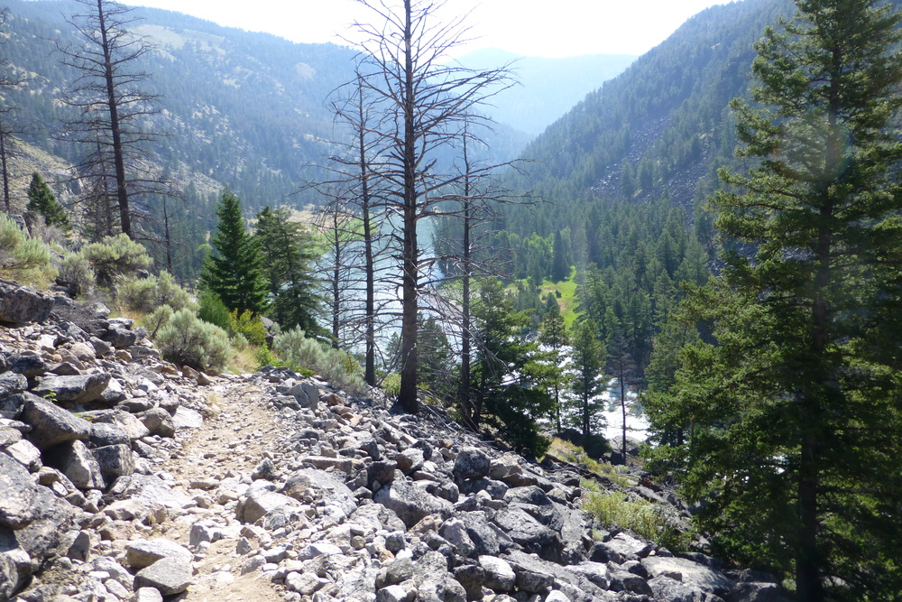 Looking down on yellowstone river