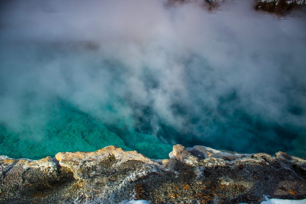 turquoise hot spring in Yellowstone