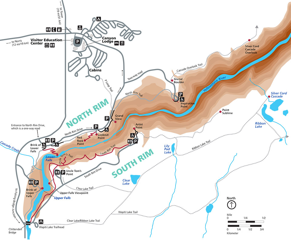 Grand Canyon of the Yellowstone location map