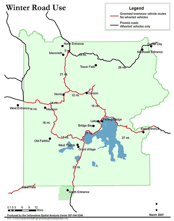 Yellowstone Winter Road Map