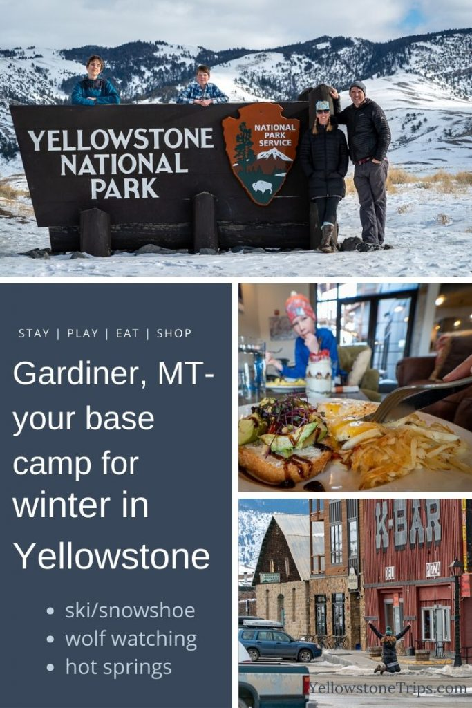 Thinking about visiting Yellowstone in winter? Make Gardiner, MT your basecamp for skiing, wolf watching, hot springing, restaurants, lodging, and more. Read our full guide. #yellowstone #gardiner #wildlife #montana #wintervacation #wolfwatching #hotsprings